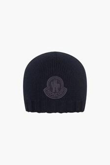 Moncler Enfant Boys Navy Blue Wool Baby Hat