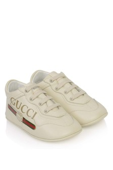 GUCCI Kids Baby Ivory Leather Rhyton Trainers