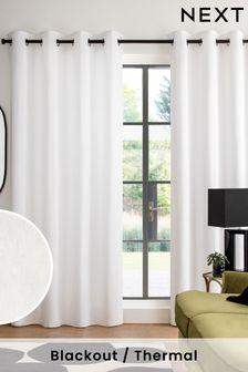 White White Cotton Eyelet Blackout/Thermal Curtains