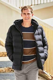 Navy Shower Resistant Heat Seal Puffer Jacket With Fleece Lining