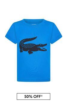 Lacoste Kids Boys Blue Cotton T-Shirt