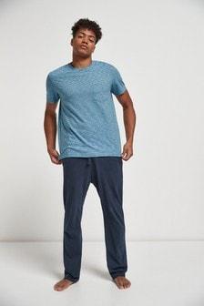 Blue Fine Stripe Pyjama Set