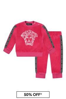 Versace Baby Girls Fuchsia Cotton Logo Tracksuit