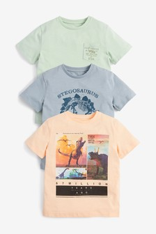 Multi 3 Pack Dinosaur Short Sleeve T-Shirts (3-14yrs)