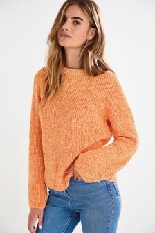 Orange Twist Rib Detail Crew Neck Jumper