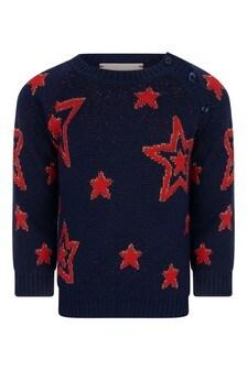 GUCCI Kids Baby Girls Navy Wool Knitted Stars Jumper