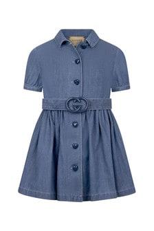 GUCCI Kids Girls Blue Cotton Dress