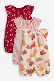 Rust Bunny 3 Pack Gathered Neck Printed Rompers (0mths-3yrs)