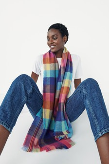 Multi Colour Bright Check Mid Weight Scarf