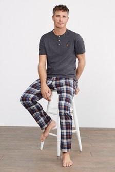 Charcoal/Tan Short Sleeved Cosy Motionflex Pyjama Set