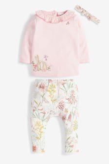 Pink/Ecru T-Shirt, Leggings And Headband Set (0mths-3yrs)