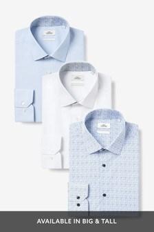 Blue Contrast Trim Shirts Three Pack