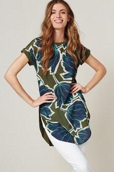 Khaki Floral Longline Tunic
