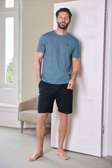 Blue Fine Stripe Jersey Short Pyjama Set