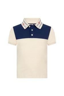 GUCCI Kids Boys Cream Cotton Polo Top