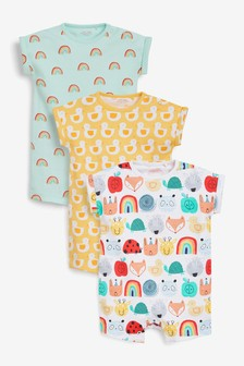 Bright Character 3 Pack T-Shirt Rompers (0-3yrs)