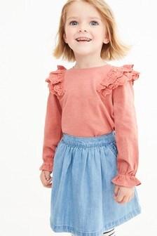 Mid Blue Denim Frill Pocket Skirt (3mths-10yrs)