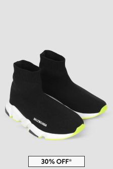 Balenciaga Kids Black/Neon Yellow Speed Trainers