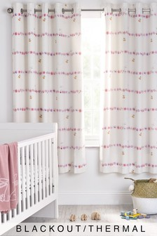 White Floral Bunny Eyelet Blackout Curtains