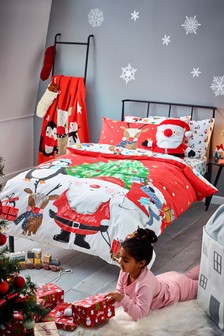 Red Red Christmas Santa And Friends 100% Cotton Duvet Cover and Pillowcase Set