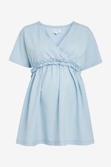 Chambray Maternity/Nursing Fabric Mix Wrap Top