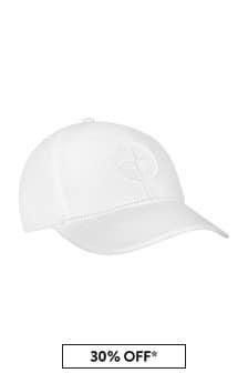 Stone Island Junior Boys White Cotton Hat