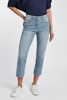 Bleach Cropped Straight Jeans