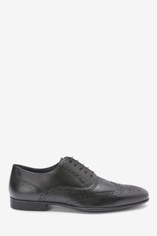 Black Leather Oxford Brogue Shoes