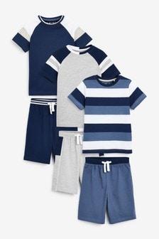 Blue Stripe 3 Pack Short Pyjamas (3-16yrs)