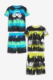 Blue/Yellow Gamer 2 Pack Short Pyjamas (3-16yrs)