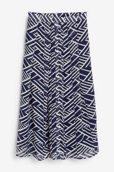 Navy Button Front Skirt