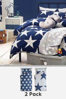 Navy 2 Pack Stars Duvet Cover And Pillowcase Set