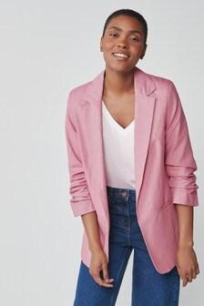 Pink Rouched Sleeve Sparkle Blazer