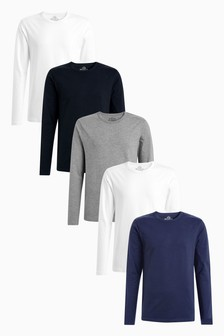 Multi Long Sleeve T-Shirts Five Pack