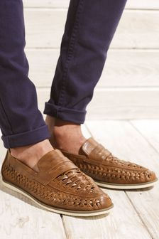 Tan Weave Loafers