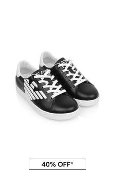 EA7 Emporio Armani Kids Black/White Leather Classic Trainers