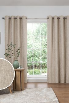 Natural Natural Heavyweight Chenille Eyelet Lined Curtains