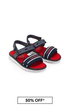 Dolce & Gabbana Kids Boys Blue Leather Sandals