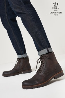 Brown Leather Zip Boots