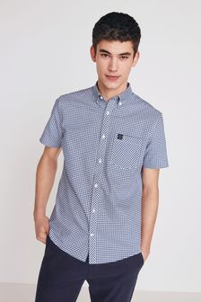 Navy/White Regular Fit Short Sleeve Gingham Stretch Oxford Shirt