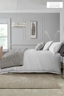 White/Silver White/Silver 600 Thread Count 100% Cotton Sateen Collection Luxe Duvet Cover And Pillowcase Set