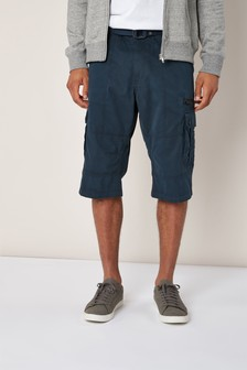 Navy Belted Longer Cargo Shorts