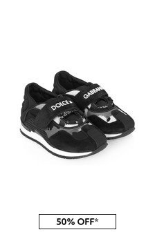 Dolce & Gabbana Kids Baby Boys Black Leather Trainers