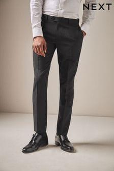 Black Machine Washable Plain Front Trousers
