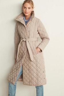 Neutral Longline Belted Padded Coat