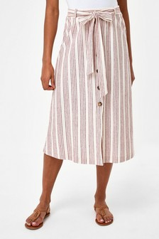 Red Stripe Midi Skirt