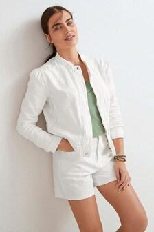 White Floral Jacquard Denim Bomber Jacket