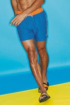 Blue Contrast Trim Swim Shorts