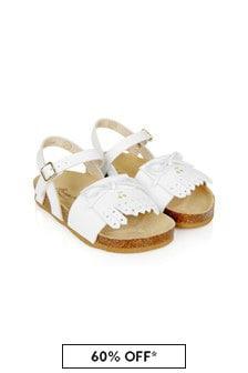 Bonpoint Girls White Leather Sandals