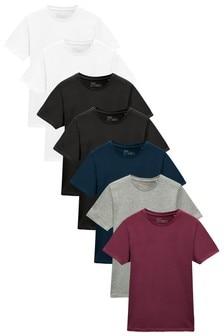 Burgundy Mix Regular Fit Crew Neck T-Shirts 7 Pack
